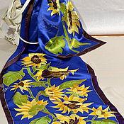 Аксессуары handmade. Livemaster - original item silk scarf batik Sunflowers. Handmade.