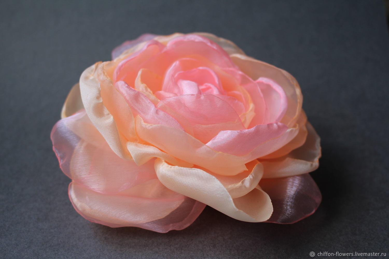 Шелковая роза золотисто-розового оттенка, Брошь-булавка, Новосибирск,  Фото №1