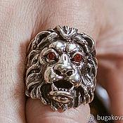 Украшения handmade. Livemaster - original item Ring Lion from silver 925 with red zircons. Handmade.