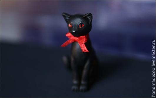 Персональные подарки ручной работы. Ярмарка Мастеров - ручная работа. Купить Черная кошка. Handmade. Черный, акрил, sculpey