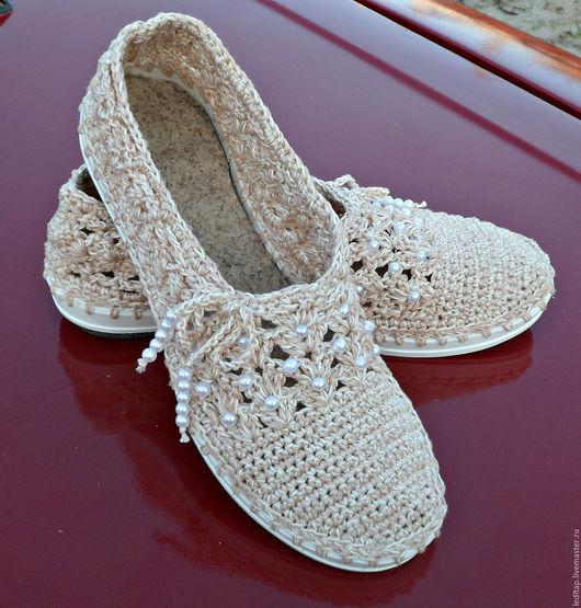 Обувь ручной работы. Ярмарка Мастеров - ручная работа. Купить Мокасины. Handmade. Бежевый, пряжа хлопок 100%