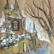 Картины и панно ручной работы. Ярмарка Мастеров - ручная работа Акрил, тушь, старый город, формат А4. Handmade.