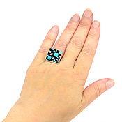Украшения handmade. Livemaster - original item RING Chess mosaic. Size 18. turquoise. Mother of pearl. charoite. Handmade.