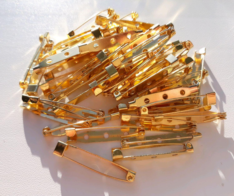 Булавка -основа для броши (золото) от 2 до 4см, Тайланд, Заготовки для украшений, Ижевск,  Фото №1