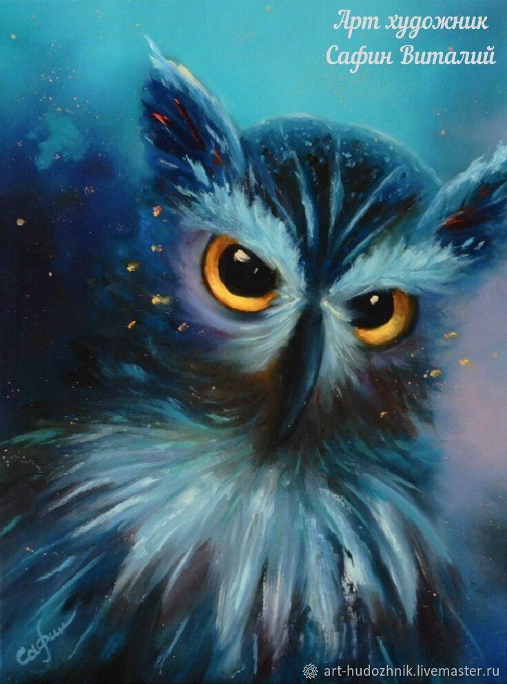 Портрет птицы картина Мудрая сова, Картины, Санкт-Петербург,  Фото №1