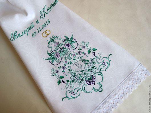 Свадебный рушник, Рушник на свадьбу, Рушник с вышивкой, Рушник для венчания, Венчальный рушник,  Союзный рушник, Рушник на каравай, Рушник на икону, Рушник свадебный, Дерево жизни, Прованс