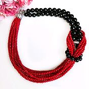 Украшения handmade. Livemaster - original item Red coral and black agate necklace