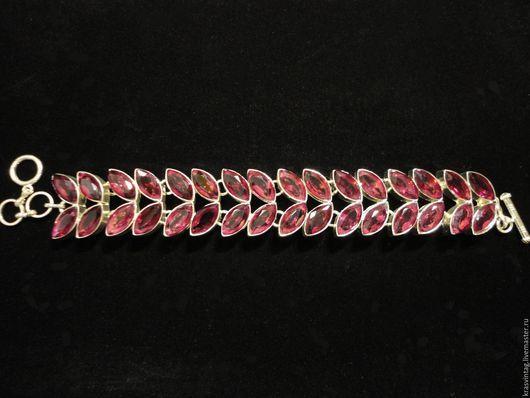 Винтажные украшения. Ярмарка Мастеров - ручная работа. Купить Винтажный браслет. Handmade. Фуксия, браслет из камней