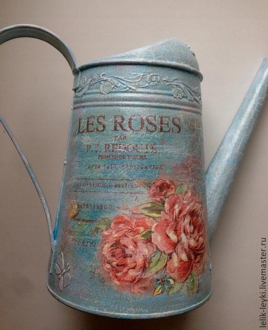 """Лейки ручной работы. Ярмарка Мастеров - ручная работа. Купить Леечка """"Розы"""". Handmade. Голубой, лейка садовая, для дома и интерьера"""