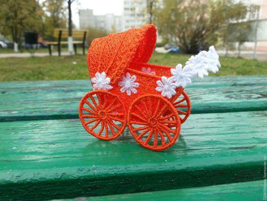 Праздничная атрибутика ручной работы. Ярмарка Мастеров - ручная работа. Купить Ажурная коляска. Handmade. Оранжевый, недорогой подарок, кружево