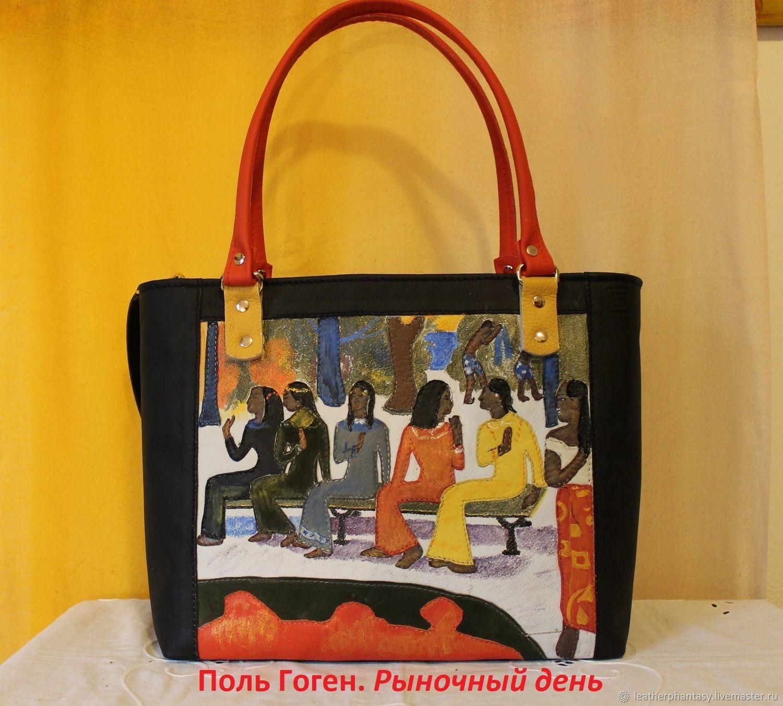 Handbags Handmade Livemaster Paul Gauguin Leather Black Handbag Ta