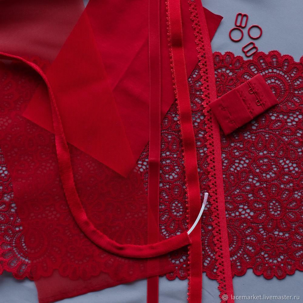 Набор для пошива белья красный /лиф на кости + трусики (090-001-416), Кружево, Москва,  Фото №1