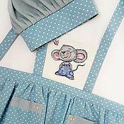 Фартуки ручной работы. Ярмарка Мастеров - ручная работа Фартук и поварской колпак детский Мышка с вышивкой. Handmade.