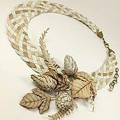 Украшения handmade. Livemaster - original item Sugar - Vanilla Sketch. necklace and brooch made of genuine leather. Handmade.