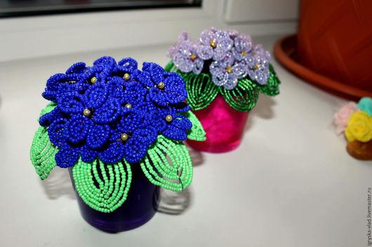 Цветы ручной работы. Ярмарка Мастеров - ручная работа. Купить Фиалки из бисера. Handmade. Тёмно-синий, цветы, цветы из бисера