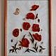 Картины цветов ручной работы. Ярмарка Мастеров - ручная работа. Купить Маки. Handmade. Витраж, бабочка, для кухни, витражные краски