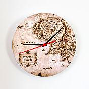 """Для дома и интерьера ручной работы. Ярмарка Мастеров - ручная работа Настенные часы """"Карта Средиземья"""". Handmade."""