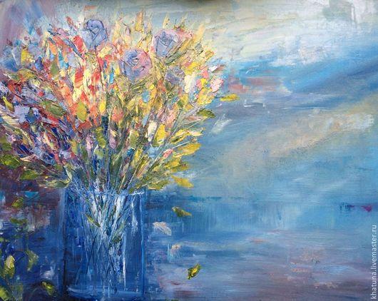 """Картины цветов ручной работы. Ярмарка Мастеров - ручная работа. Купить Картина """"Осенний букет"""". Handmade. Синий, цветы, Живопись"""