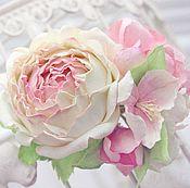 """Украшения ручной работы. Ярмарка Мастеров - ручная работа Зажим для волос """"Rose and Apple flowers"""". Handmade."""