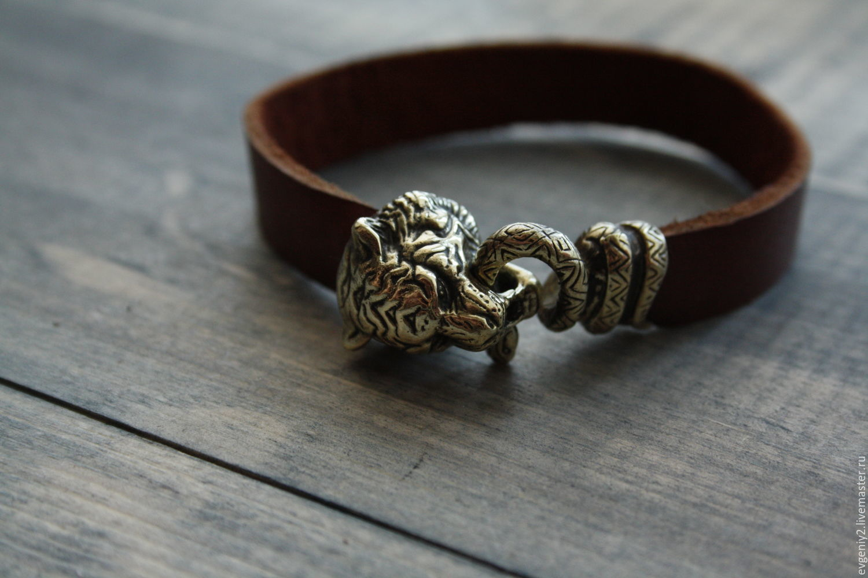 Leather bracelet with tiger, Bead bracelet, Volgograd,  Фото №1