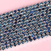 Цепочки ручной работы. Ярмарка Мастеров - ручная работа Стразовая лента Синий Ирис в серебряной оправе 2 мм. Handmade.