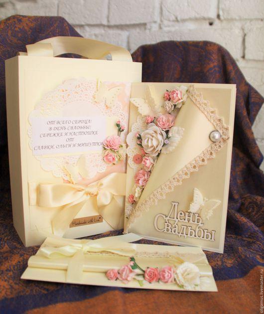 Свадебные открытки ручной работы. Ярмарка Мастеров - ручная работа. Купить Свадебный набор 6 (открытка конверт пакет). Handmade.