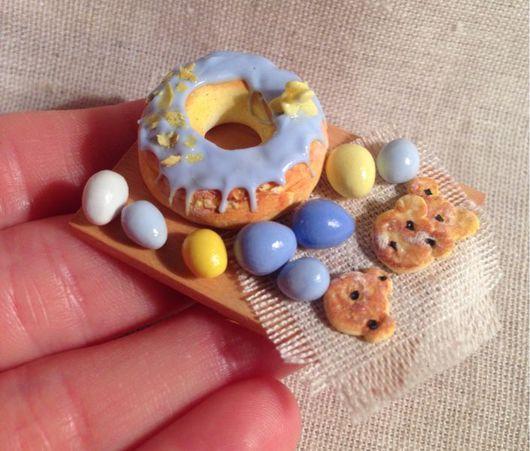 Еда ручной работы. Ярмарка Мастеров - ручная работа. Купить Пасхальная миниатюра. Handmade. Миниатюра, кукольный домик, полимерная глина
