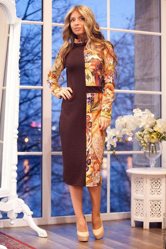 """Платья ручной работы. Ярмарка Мастеров - ручная работа. Купить Платье """"Фреска Brown"""". Handmade. Коричневый, платье в офис"""