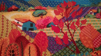 """Пейзаж ручной работы. Ярмарка Мастеров - ручная работа. Купить Вышивка крестом """"Сказочная поляна"""". Handmade. Ярко-красный, деревья"""
