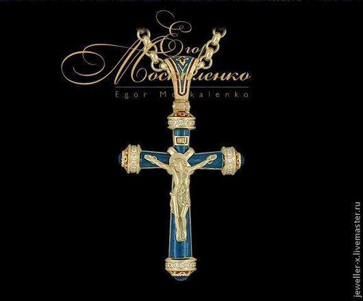 Православный крест с голубой эмалью (малый) Jeweller-X.ru