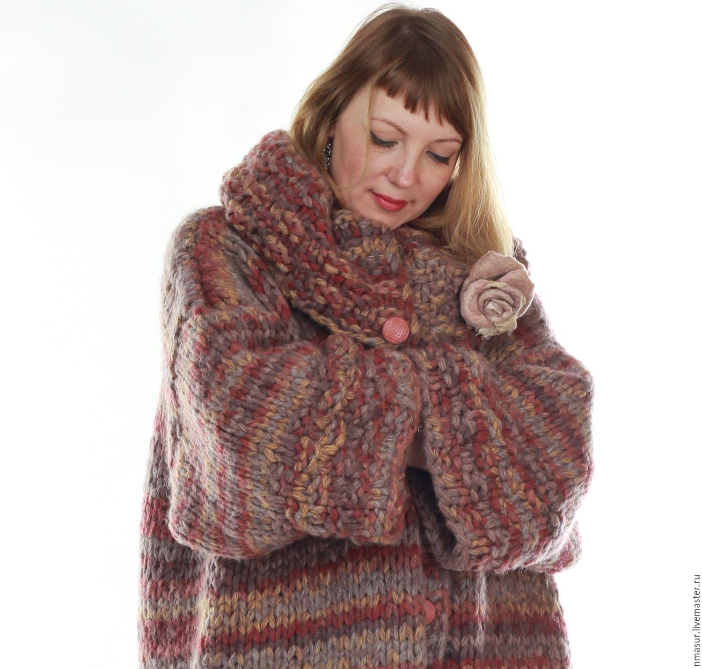 Вязаное пальто из меланжевой пряжи oversize