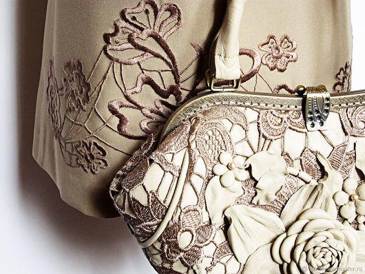 Женские сумки ручной работы. Ярмарка Мастеров - ручная работа. Купить Женская сумка Нежность из натуральной кожи и кружева. Handmade.