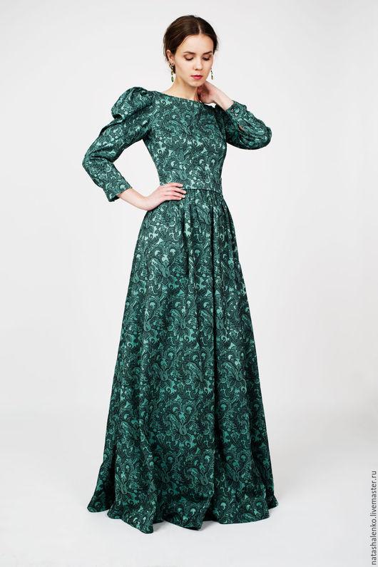 Платья ручной работы. Ярмарка Мастеров - ручная работа. Купить Платье из жаккарда Изумруд. Handmade. Тёмно-зелёный, платье, вечернее