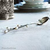 """Ложки ручной работы. Ярмарка Мастеров - ручная работа Серебряная ложка """"Верба"""" с жемчугом. Handmade."""