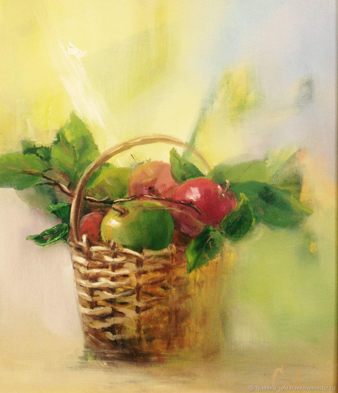 Картина маслом яблоки в корзине, Картины, Екатеринбург,  Фото №1