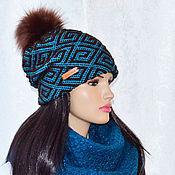 Аксессуары handmade. Livemaster - original item Beanie women`s double hat with pompom
