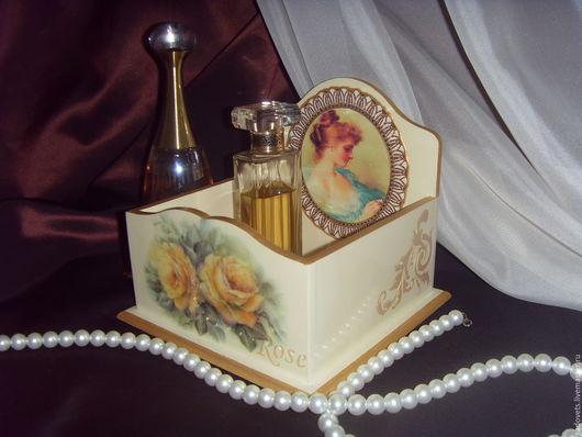 Корзины, коробы ручной работы. Ярмарка Мастеров - ручная работа. Купить Короб - подставка для парфюма бежевый цвет Rose. Handmade.