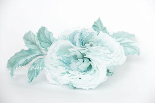 """Броши ручной работы. Ярмарка Мастеров - ручная работа. Купить Роза """"Бриз"""". Handmade. Бирюзовый, роза ручной работы"""