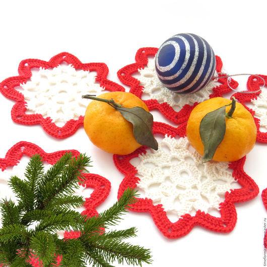 подставка под горячее, подставка под чашку, подставка под кружку, вязаные подставки под горячее, подарок на 8 марта, подарок на новый год