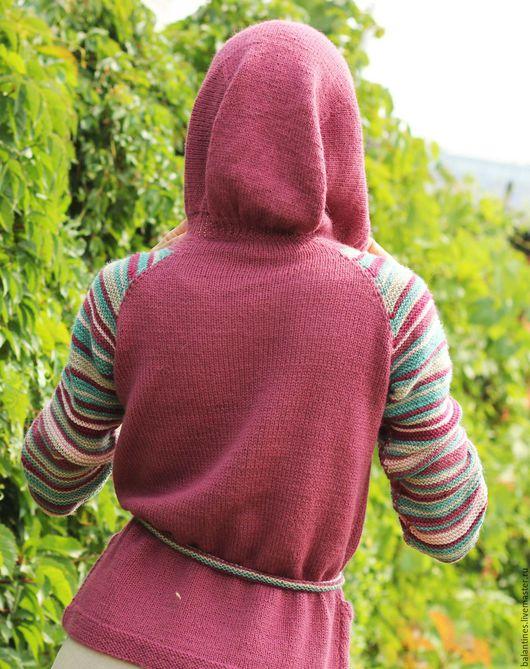 Кофты и свитера ручной работы. Ярмарка Мастеров - ручная работа. Купить Кардиган с капюшоном вязаный спицами с рукавом реглан из альпаки. Handmade.