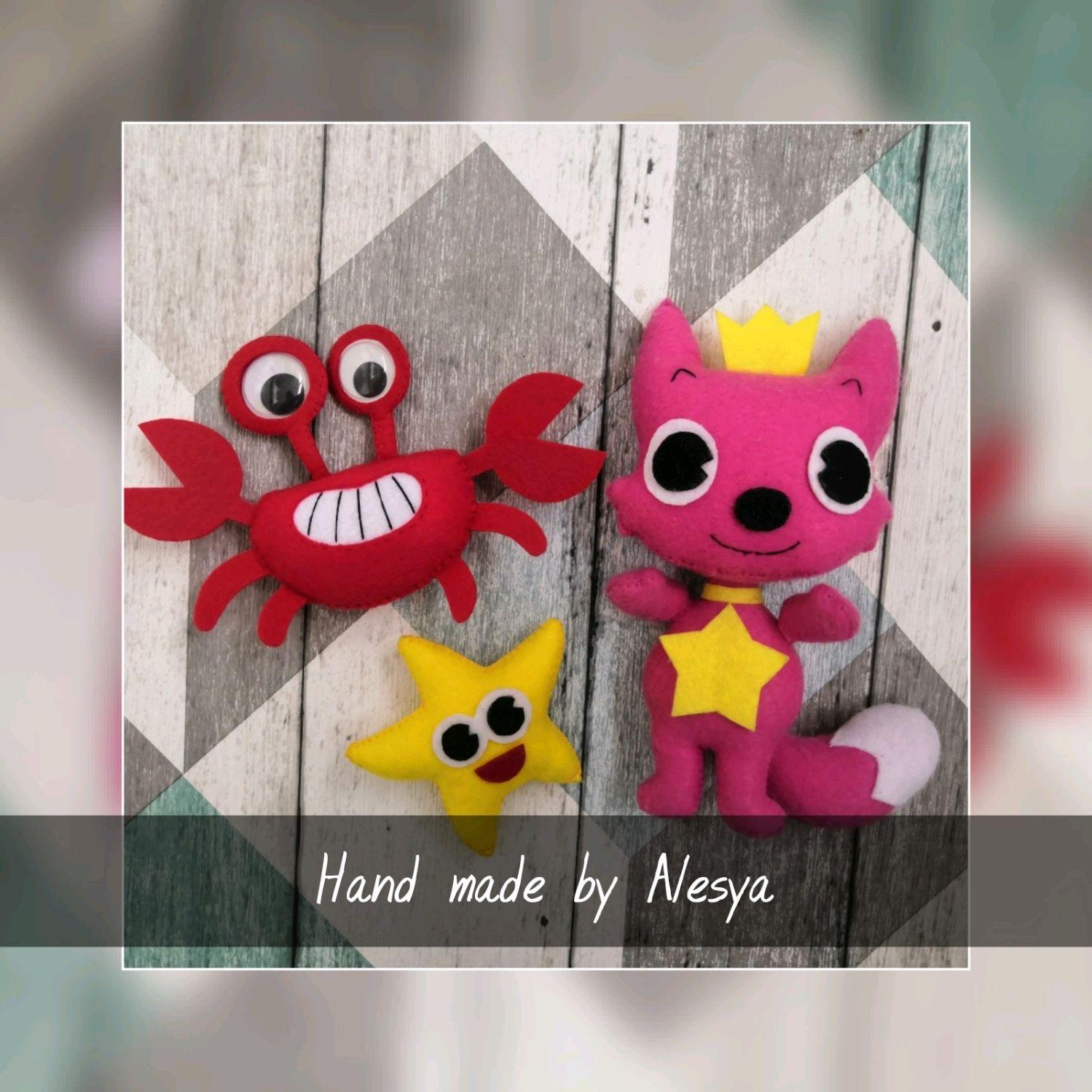 Лисенок Пинкфонг (Pink fong, baby shark) и её друзья, Мягкие игрушки, Москва,  Фото №1