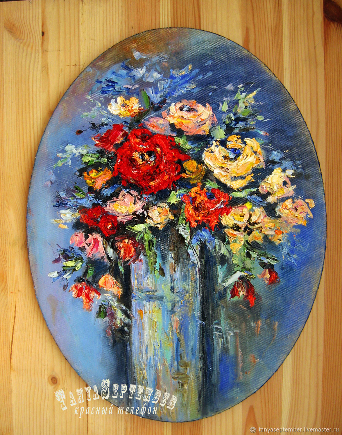 Painting on canvas oil painting RED ROSE BOUQUET, Pictures, Moscow,  Фото №1
