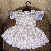 платье детское, вязаное крючком из хлопка, беж