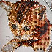 "Картины и панно handmade. Livemaster - original item Embroidery with beads ""Red Cat"". Handmade."