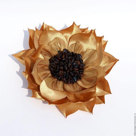 """Броши ручной работы. Ярмарка Мастеров - ручная работа. Купить Подсолнух """"Классика"""" (""""The Classic Sunflower""""). Handmade. Золотой"""