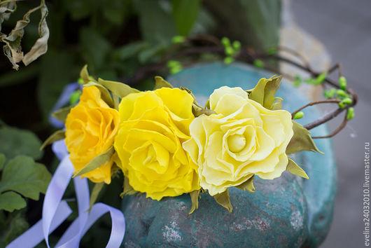 Диадемы, обручи ручной работы. Ярмарка Мастеров - ручная работа. Купить Венок из цветов из фоамирана. Handmade. Комбинированный, венок на голову