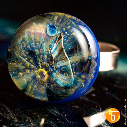 Кольца ручной работы. Ярмарка Мастеров - ручная работа. Купить Кольцо из стекла - Космический океан - фьюзинг. Handmade. Стекло, серый