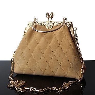 Bags and accessories handmade. Livemaster - original item Evening bag made of natural suede, sand-beige shade. Handmade.