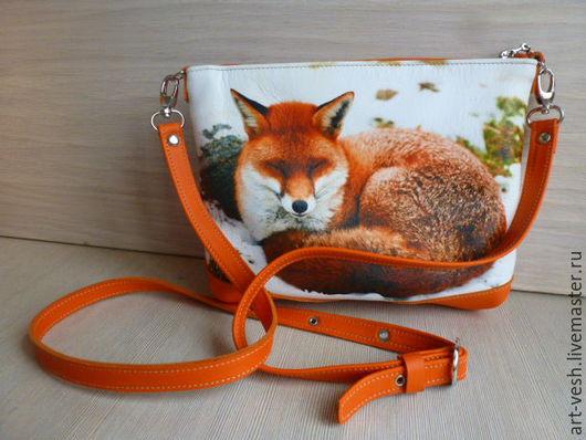 Кожаная сумочка Лиса. Женская кожаная сумка.