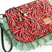 Сумки и аксессуары ручной работы. Ярмарка Мастеров - ручная работа Very hot peppers Story ) клатч сумка красный зеленый купить бохо. Handmade.